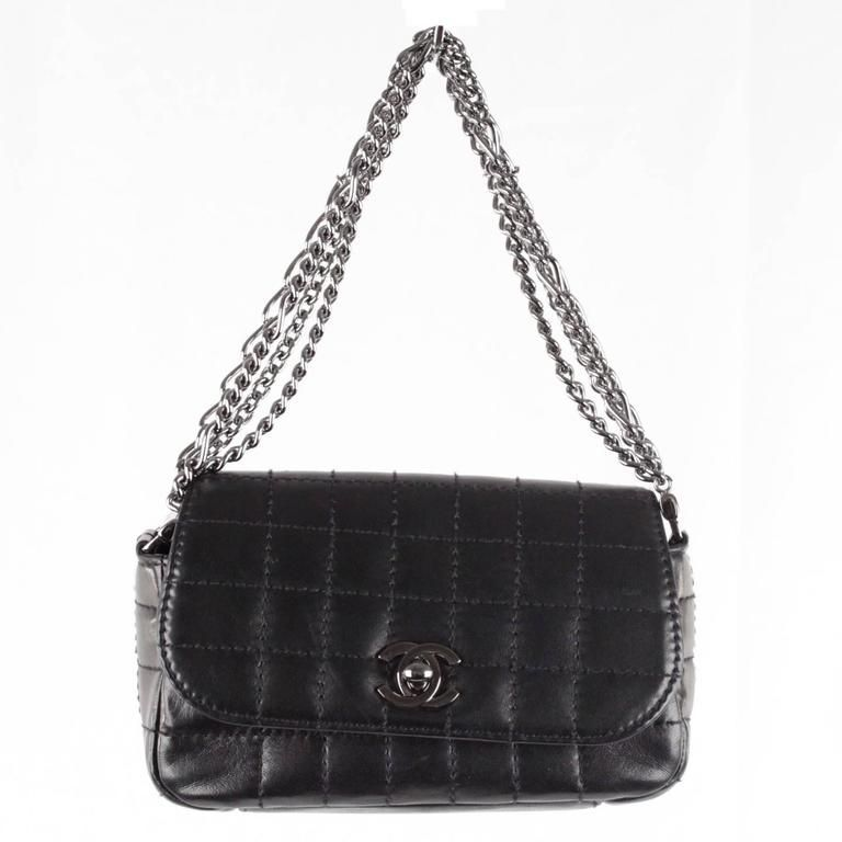 25503fc816d27a CHANEL Black Square Quilted Leather MINI Flap HANDBAG Multi Chain BAG
