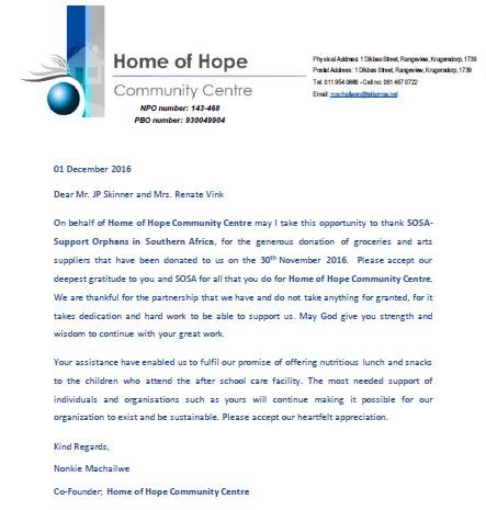 Received a thank you letter from Home of Hope for the groceries - Thank You Letter For Donations