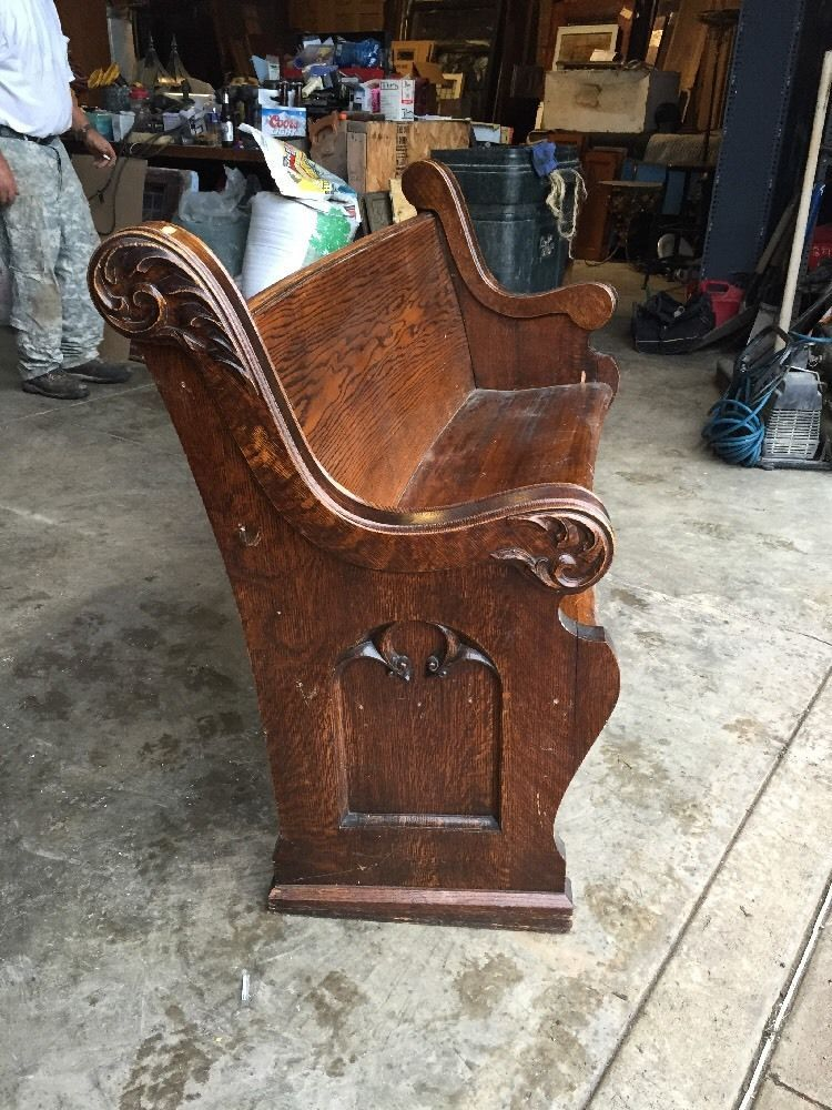 Oak Antique 4 To 6 Foot Gothic Carved Church Pew Bench In