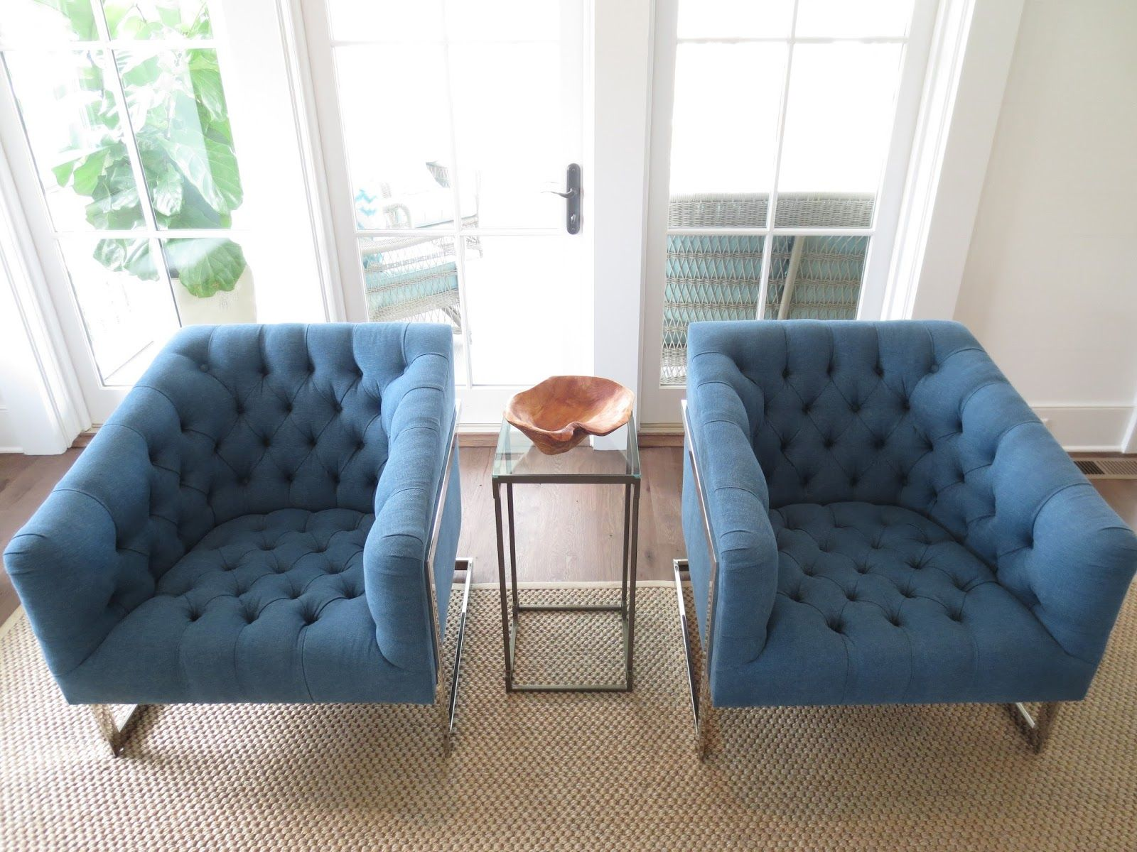 fortable royal blue tufted fabric accent chairs sofa for living