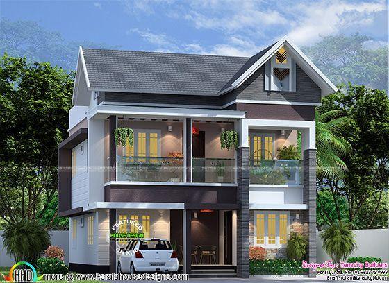 4 Bedroom 1830 Sq Ft Modern Sloped Roof Home Duplex House Design
