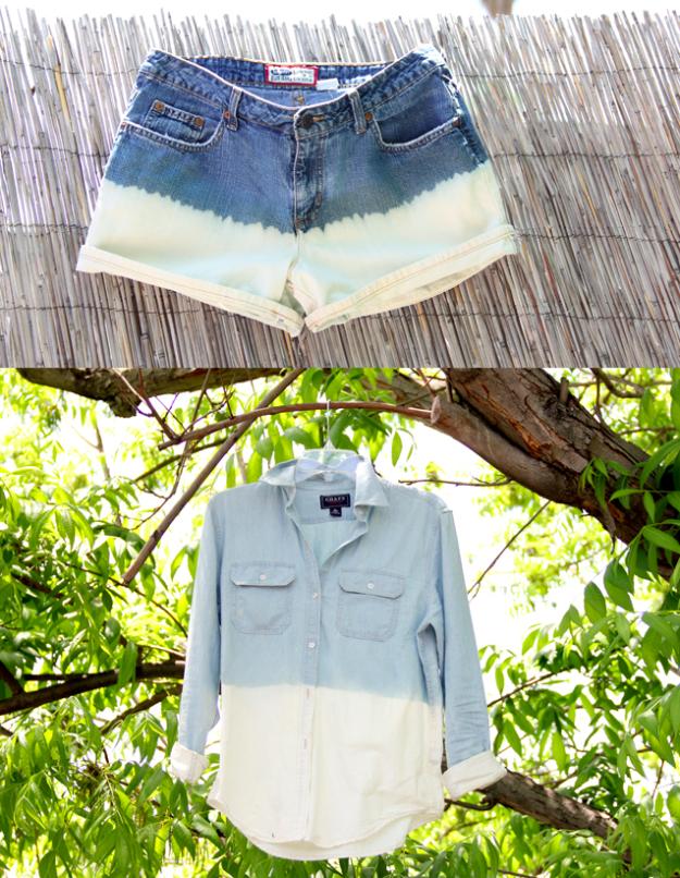 Haz que un par de pantalones cortos o una camisa de segunda mano se vea ~genial~ metiéndola unos segundos un balde de cloro. | 5 Asombrosos proyectos DIY que son fáciles de hacer