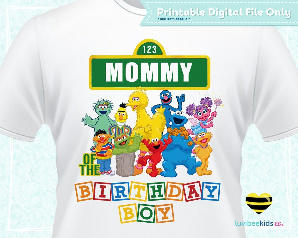 Sesame Street Birthday Iron On Transfer Primary Colors