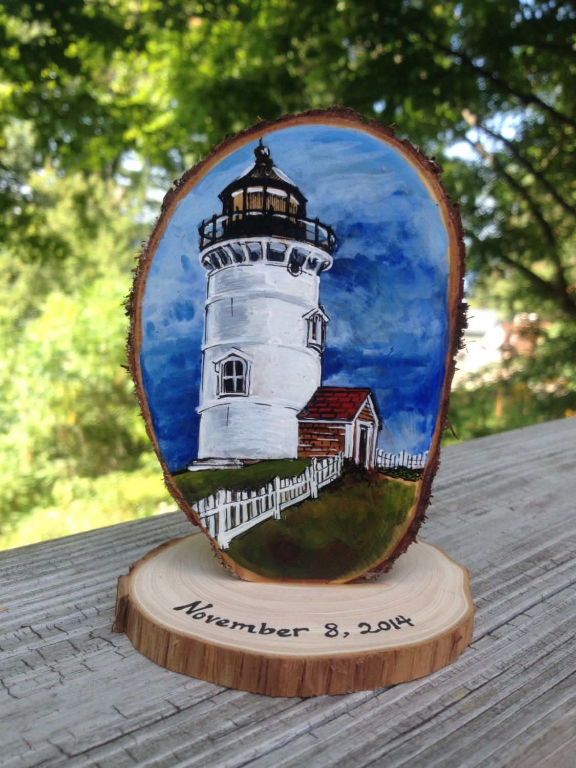 Lighthouse Wedding Cake Topper custom painted with your favorite lighthouse and free personalization
