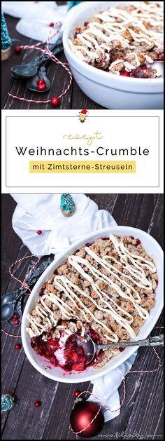 Weihnachts-Crumble mit Cranberries und Zimtsterne-Streuseln #thanksgivingfood