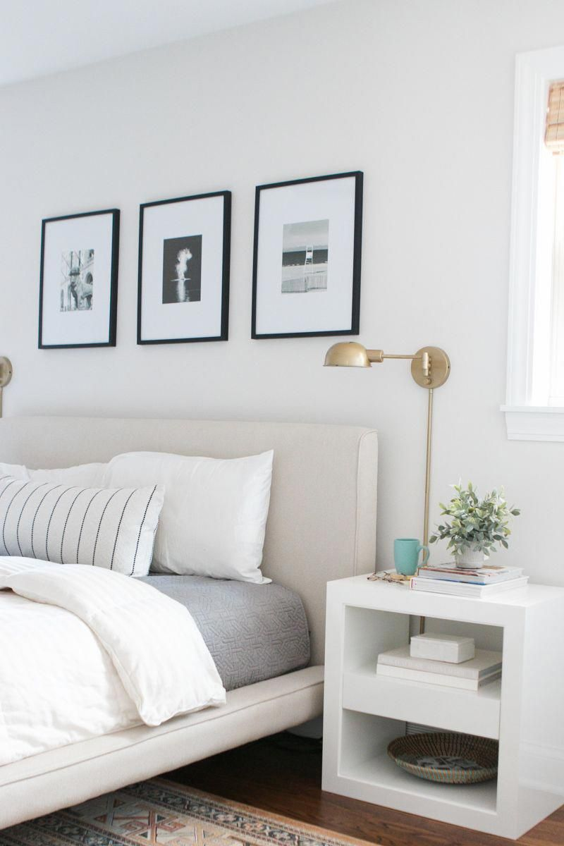Love This Light Gray Paint Color In This Neutral Bedroom It S Benjamin Moore Silve Grey Bedroom With Pop Of Color Light Grey Paint Colors Neutral Paint Colors