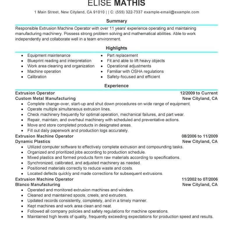 Cnc Machine Operator Resume Sample Cnc machine operator