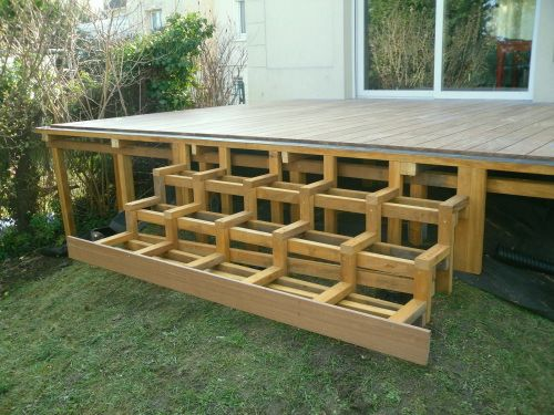 faire des escaliers en bois exotique sur ma terrasse jardin terrasse pinterest decking. Black Bedroom Furniture Sets. Home Design Ideas
