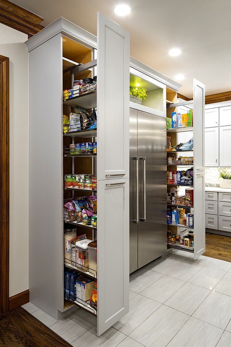 Double Floor To Ceiling Pantries Flank The Refrigerator In This