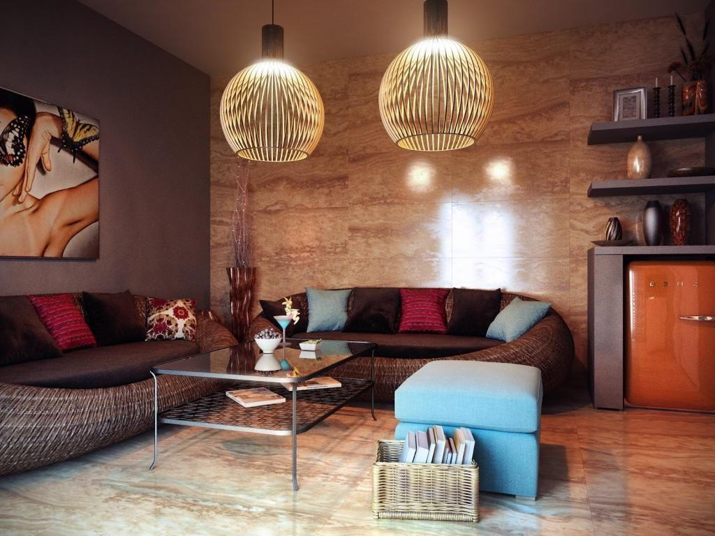 eclectic lighting. Briliant Eclectic Living Room With Rattan Materials Sofa And Two Elegance Hanging Lamp For Soft Lighting C