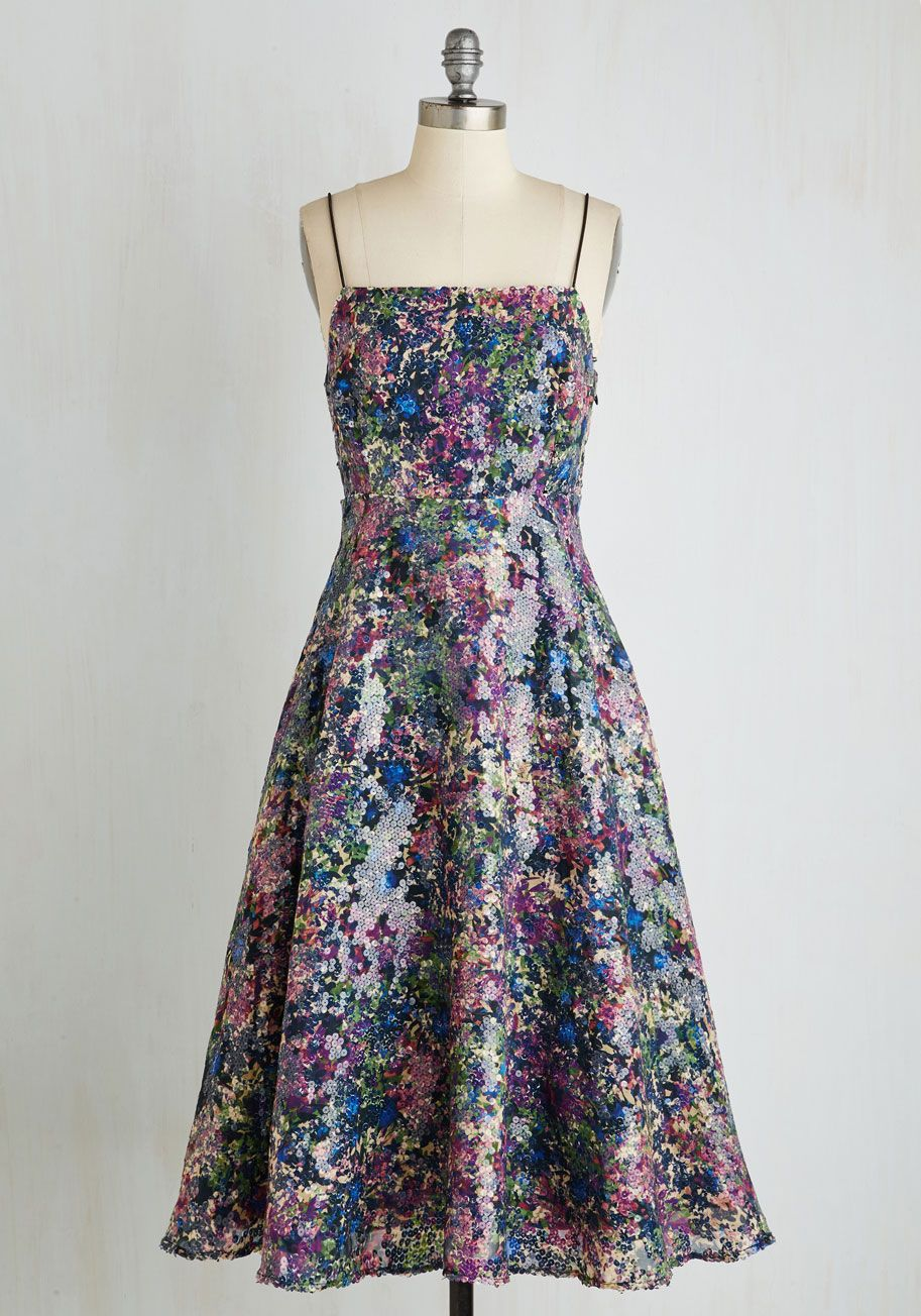 Midnight of My Life Dress by Tracy Reese - Floral, Print, Special Occasion, Party, Fit & Flare, Sleeveless, Woven, Best, Long, Mixed Media, Multi, Purple, Sequins, Cutout