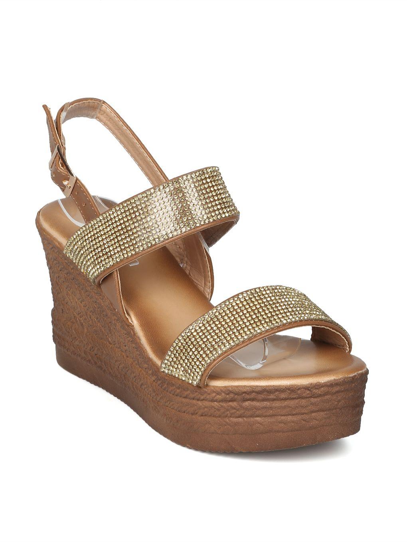 6950b16495cb85 Shoes Women Rhinestone Embellished Platform Wedge Sandal