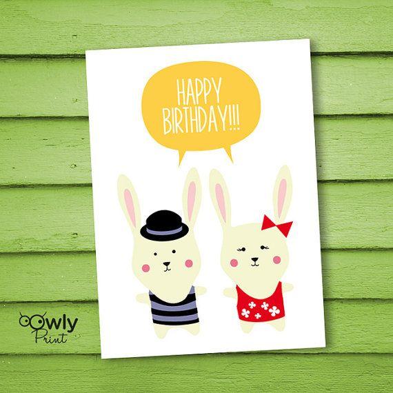 Printable Happy Birthday Card Ready To Print By Owlyprint
