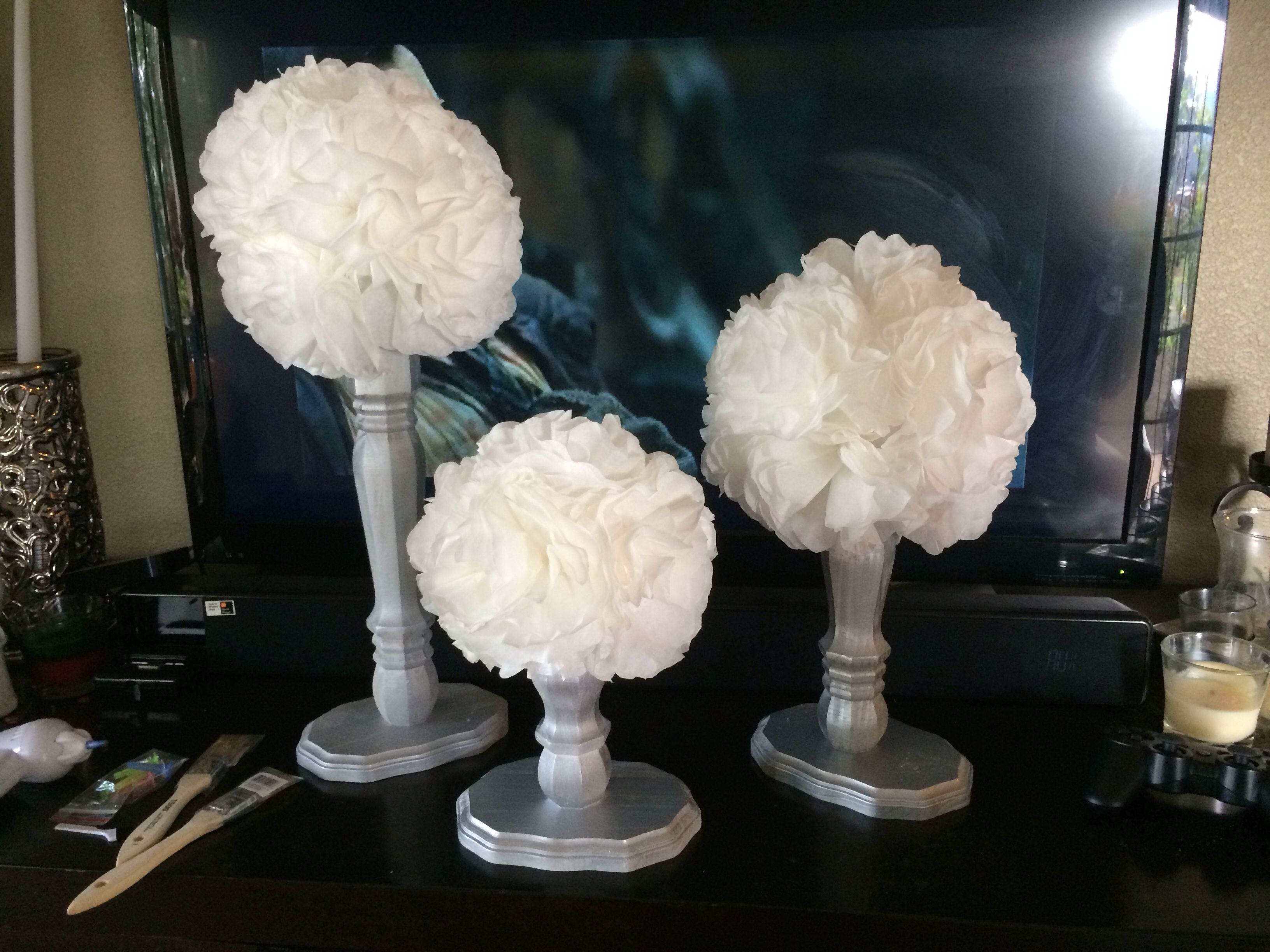 table leg coffee filter topiaries wedding decorations on a budget
