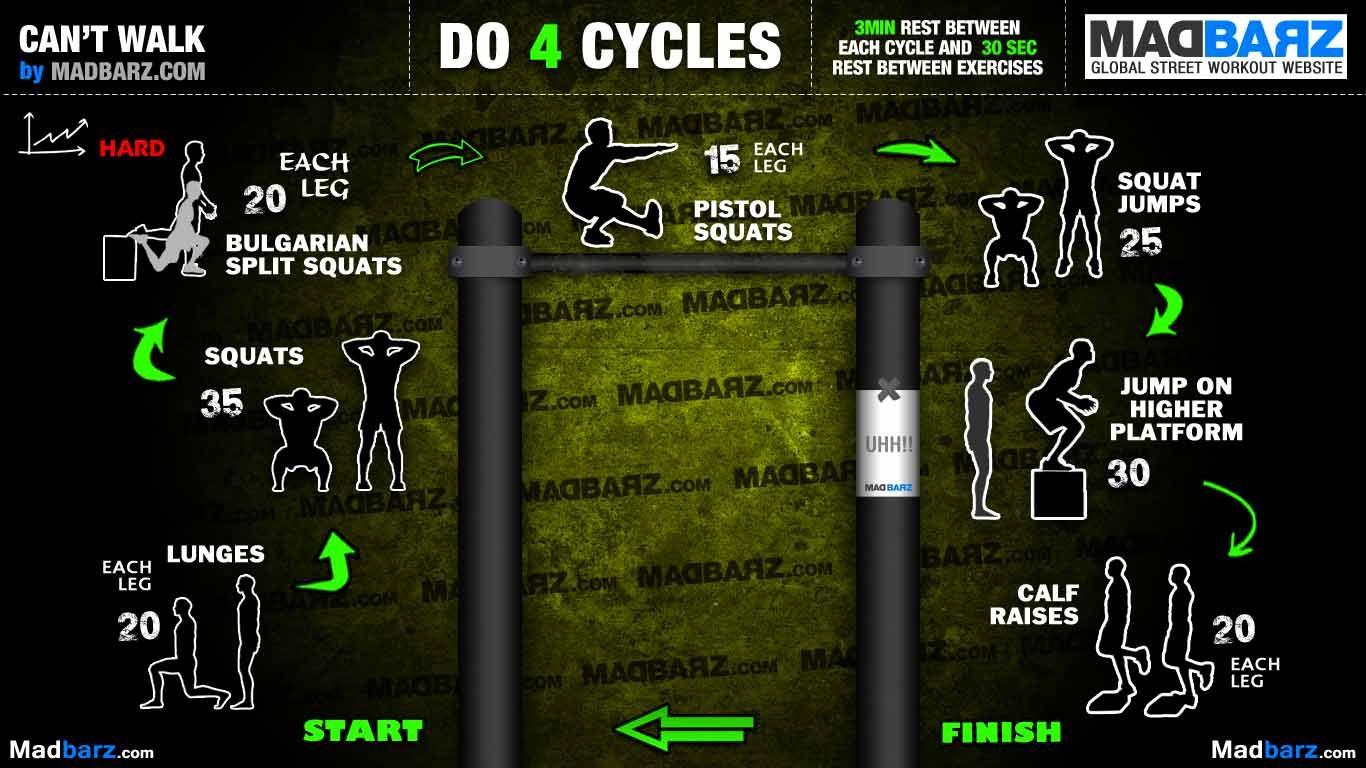 Can T Walk Calisthenics Leg Workout Street Workout Calisthenics Workout