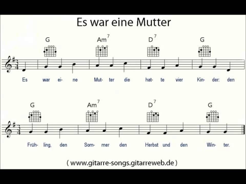 Es War Eine Mutter Noten Akkorde Liedtext Melodie Kinderlieder Kinder Lied Kinderlieder Liedtext