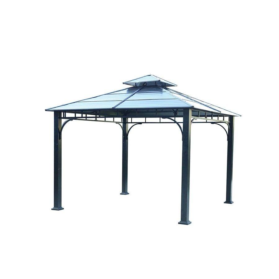 Sunjoy Black Steel Square Gazebo Exterior 10 89 Ft X 10 89 Ft Foundation 10 Ft X 10 Feet Lowes Com Gazebo Sale Gazebo Permanent Gazebo