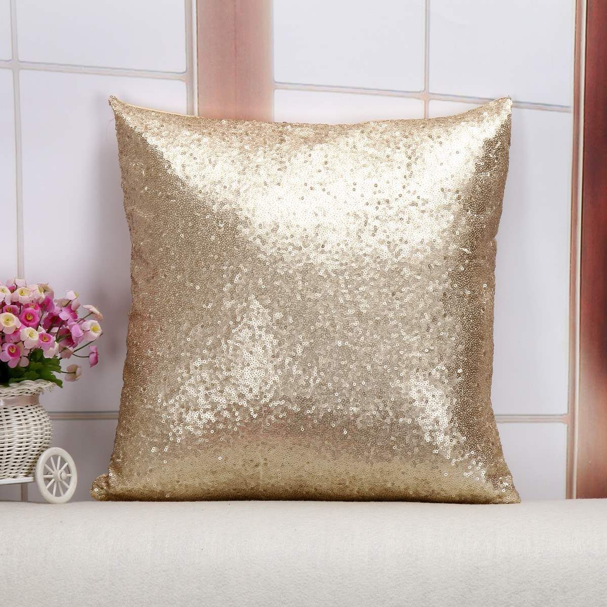 Günstige Kissen Fall Glitter Pailletten Einfarbig Werfen