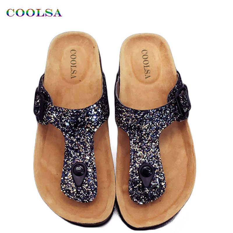 4e9abcf48 Coolsa New Summer Women Cork Beach Flip Flop Bling Sequins Slides Flat Sandals  Female Crystal Slippers Colgs Charm Playa Shoes  Affiliate