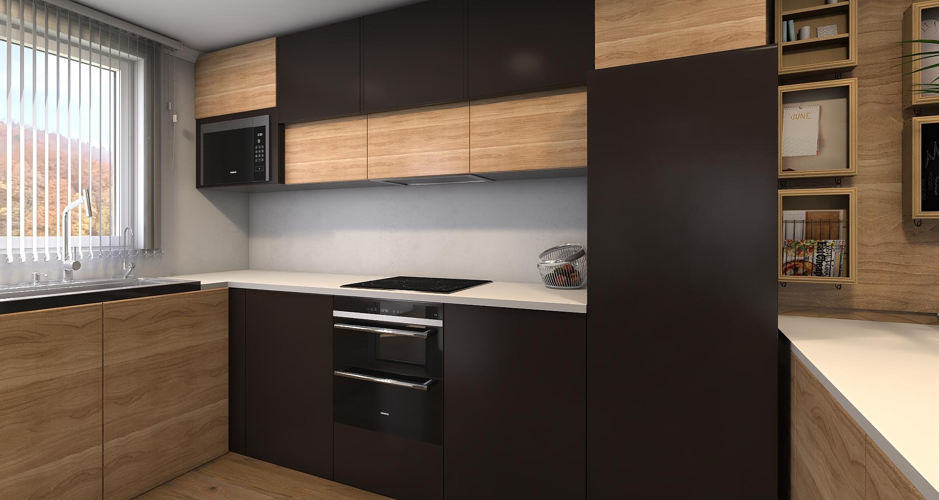 Cocina Negra Y Roble Claro Roble Claro Diseno De Cocina Diseno De Interiores