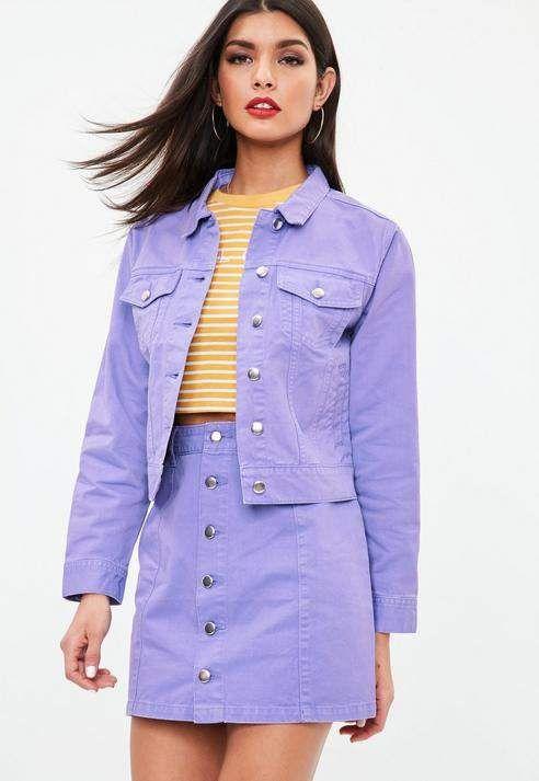 773e58be6c37 Purple Regular Fit Denim Jacket #sleeves#long#Approx   Edgy Fashion ...