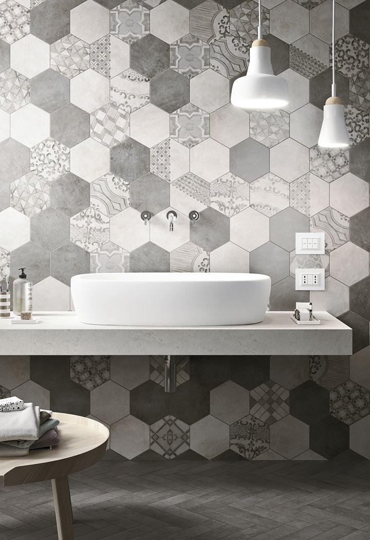 Tiles Hexagon Azulejos Cuarto De Bano Banos Pequenos Lamparas
