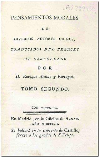 Pensamientos Morales De Diversos Autores Chinos Traducidos Del Francés Al Castellano Por Enrique Ataide Y Portugal Madrid O Pensamientos Autores Filosofía