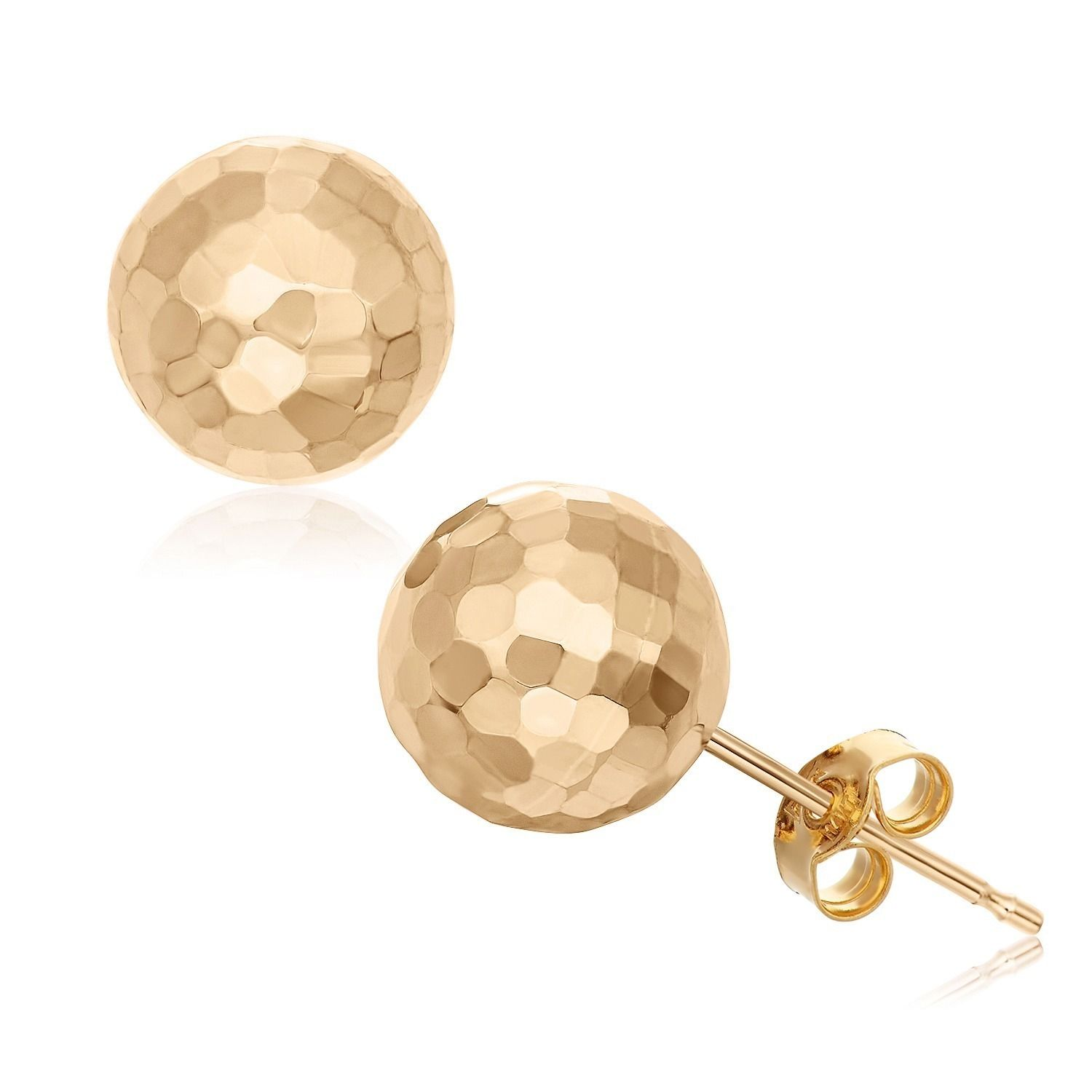 These stud earrings by Gioelli offer hammered ball designs on classic post backs. Butterfly clasps secure these charming earrings, available in your choice of 14-karat yellow, white or rose gold options.