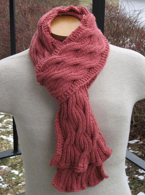 Reversible Cabled Scarf By Kris Hanson Knit Scarfs Pinterest