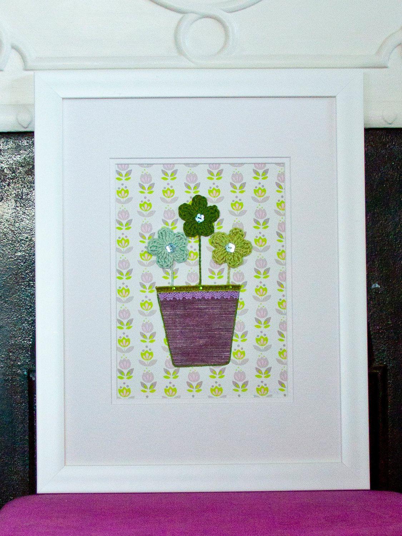 Sale - Flower Nursery Art, Framed Crochet Flowers Picture, Nursery ...
