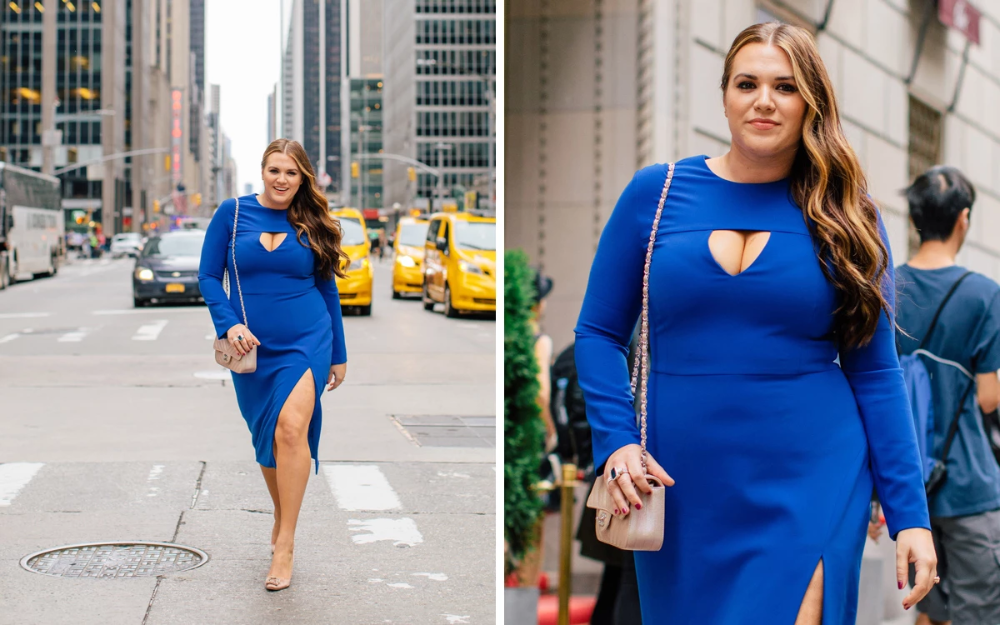 Photo of Christian Siriano Cobalt Textured Crepe Cut Out Dress – Sassy Red Lipstick hits …