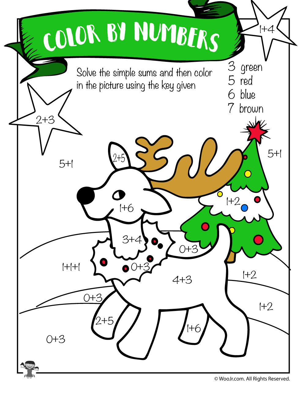 small resolution of Reindeer Math Addition Coloring Worksheet   Woo! Jr. Kids Activities   Addition  coloring worksheet
