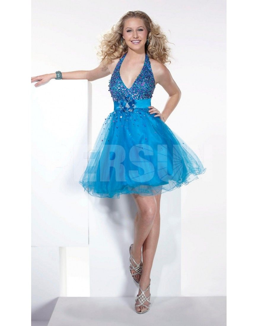 Cute Sequin Appliques Halter Satin & Tulle Blue Prom/Cocktail Dress ...