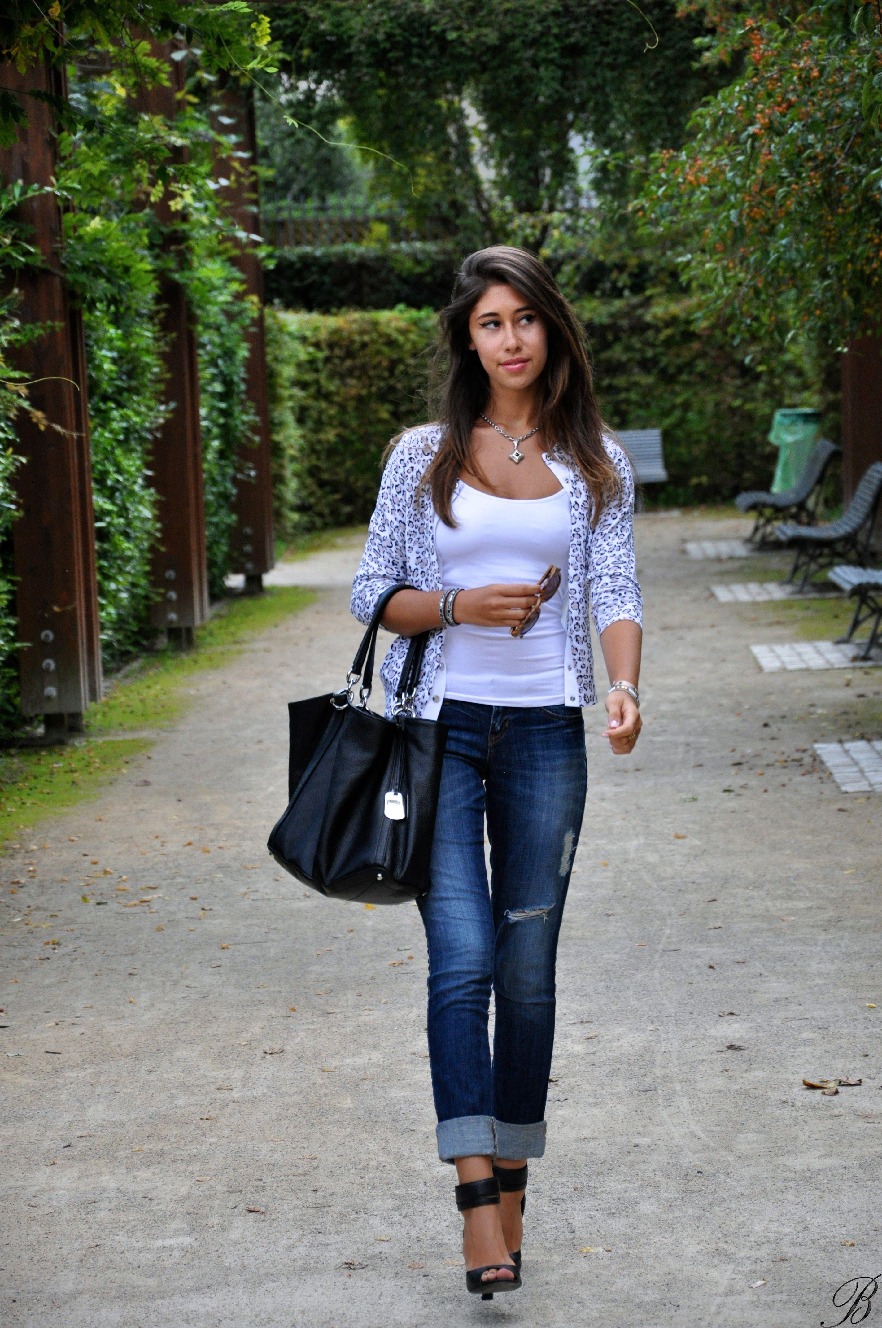 Women's White Leopard Cardigan, White Tank, Navy Skinny Jeans ...