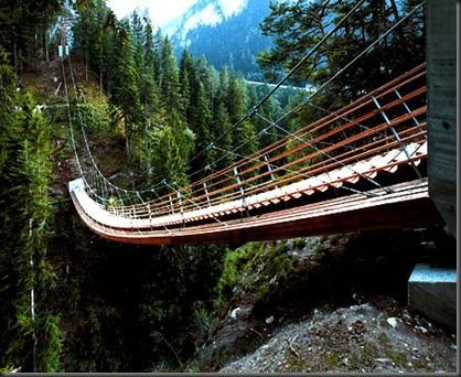 a bridge made of stairs in Switzerland, measuring in at 56 meters long. Jurg Conzett and Rolf Bachofner