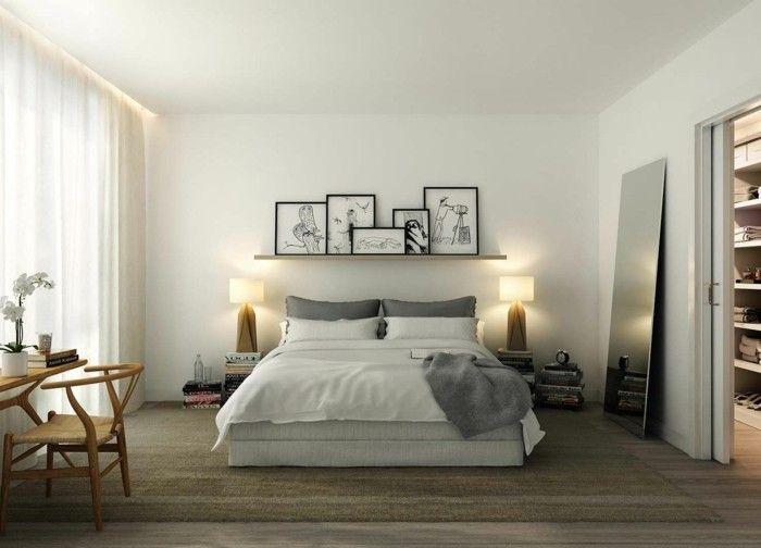 bett ohne kopfteil schickes schlafzimmerdesign neutrale farben - farbe für schlafzimmer