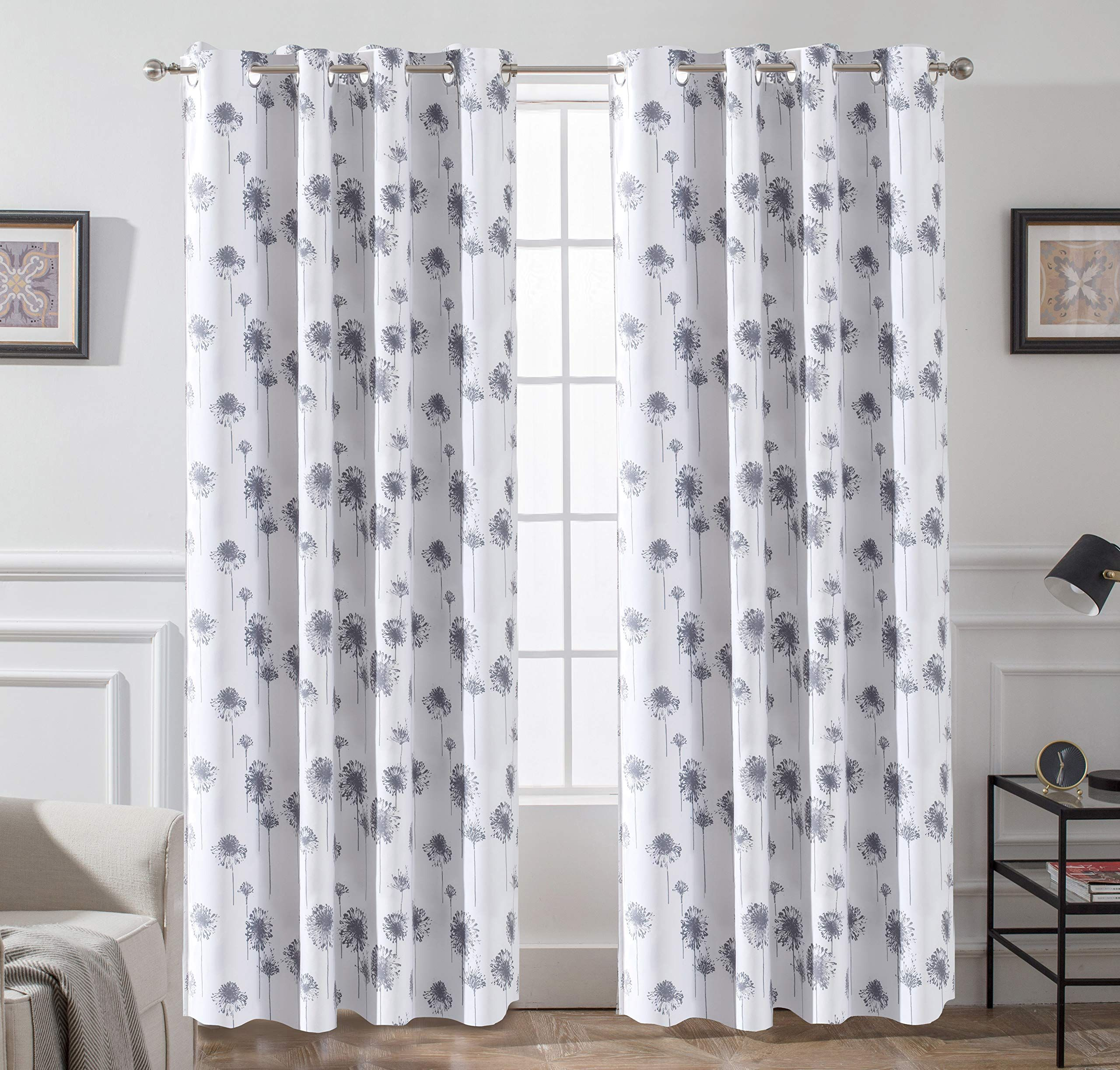 Driftaway Dandelion Floral Botanic Lined Thermal Insulated Blackout Room Darkening Grommet Energy Saving Window Panel Curtains Curtains Living Room Curtains