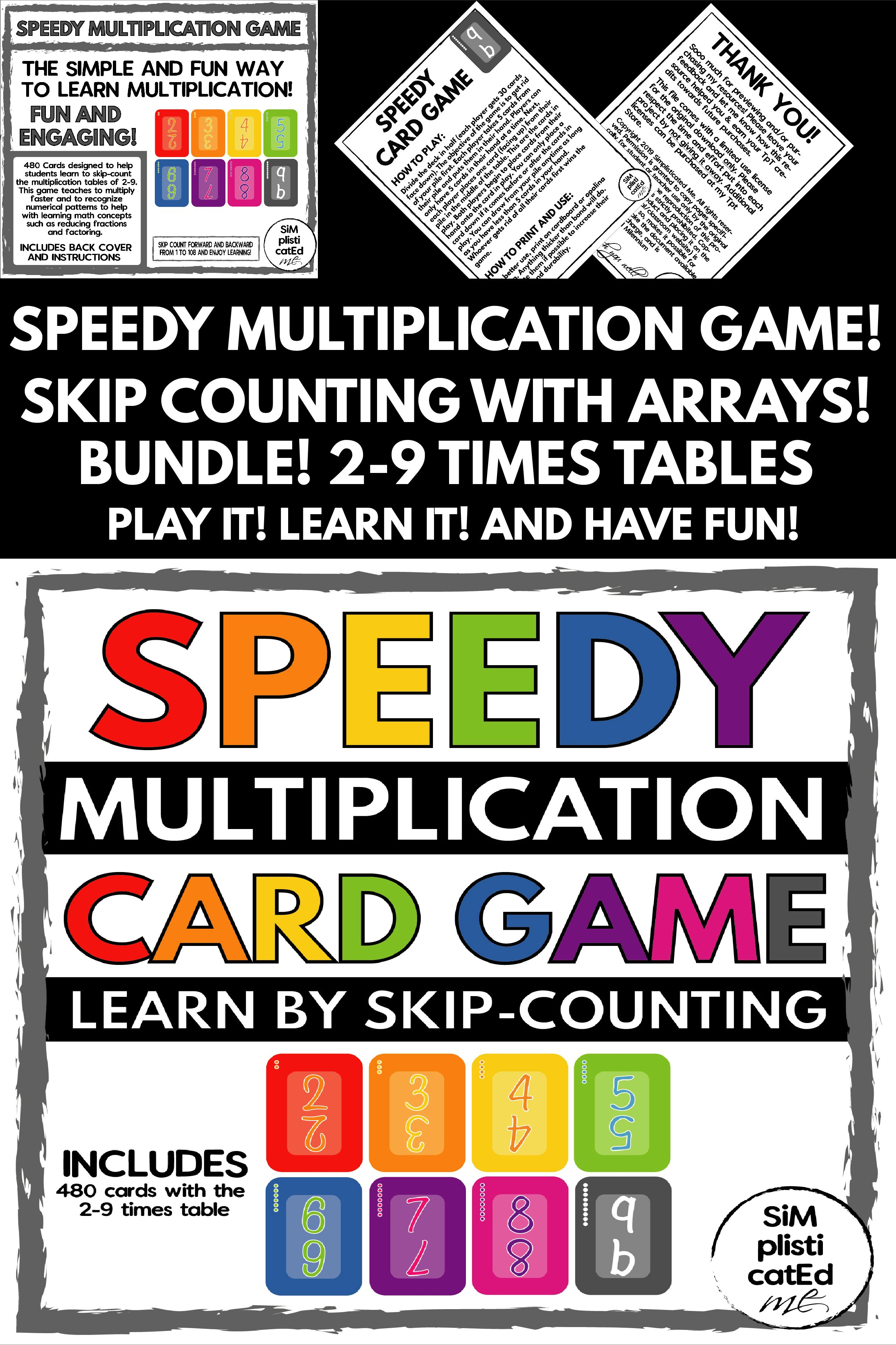 Speedy The Multiplication Card Game 2 9 Bundle Skip Counting Arrays Summer Math Activities Homeschool Programs Math Activities [ 3751 x 2500 Pixel ]
