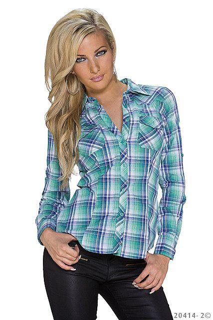 Con Mujer Slim Camisa Pico Azul Fit azul Cuello Botones A Turquesa Blusa Manga Cuadros Celeste Ajustada Larga nPPCgq