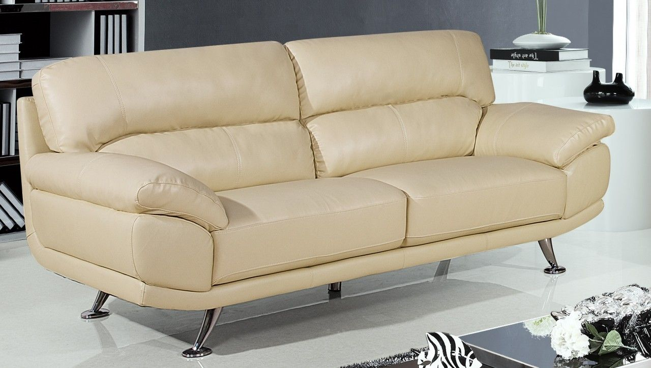 Reclining Sofa Cream Bali 3 Seater Leather Land
