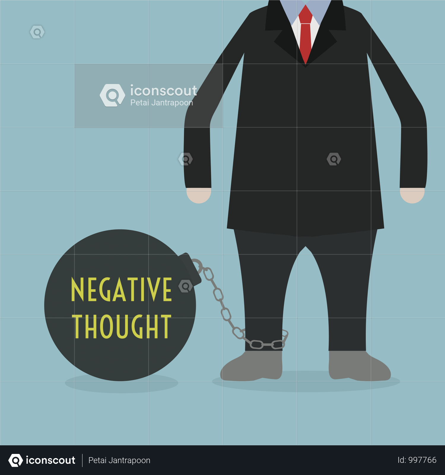 Premium Businessman Locked In A Negative Thought Ball And Chain Illustration Download In Png Vector Format Business Man Shopping Infographic Infographic Marketing