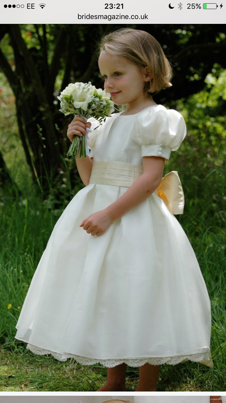 Classic Puff Sleeve Flower Girl Dress Wedding Ideas In 2018