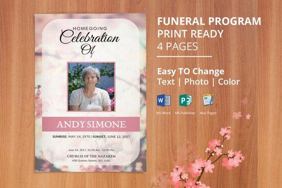 Printable Funeral Program Template, Obituary Template Editable