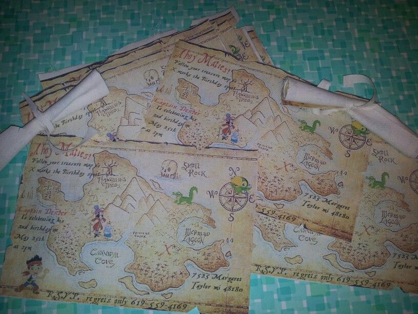 Jake And The Neverland Pirates Fabric Treasure Map Invitation