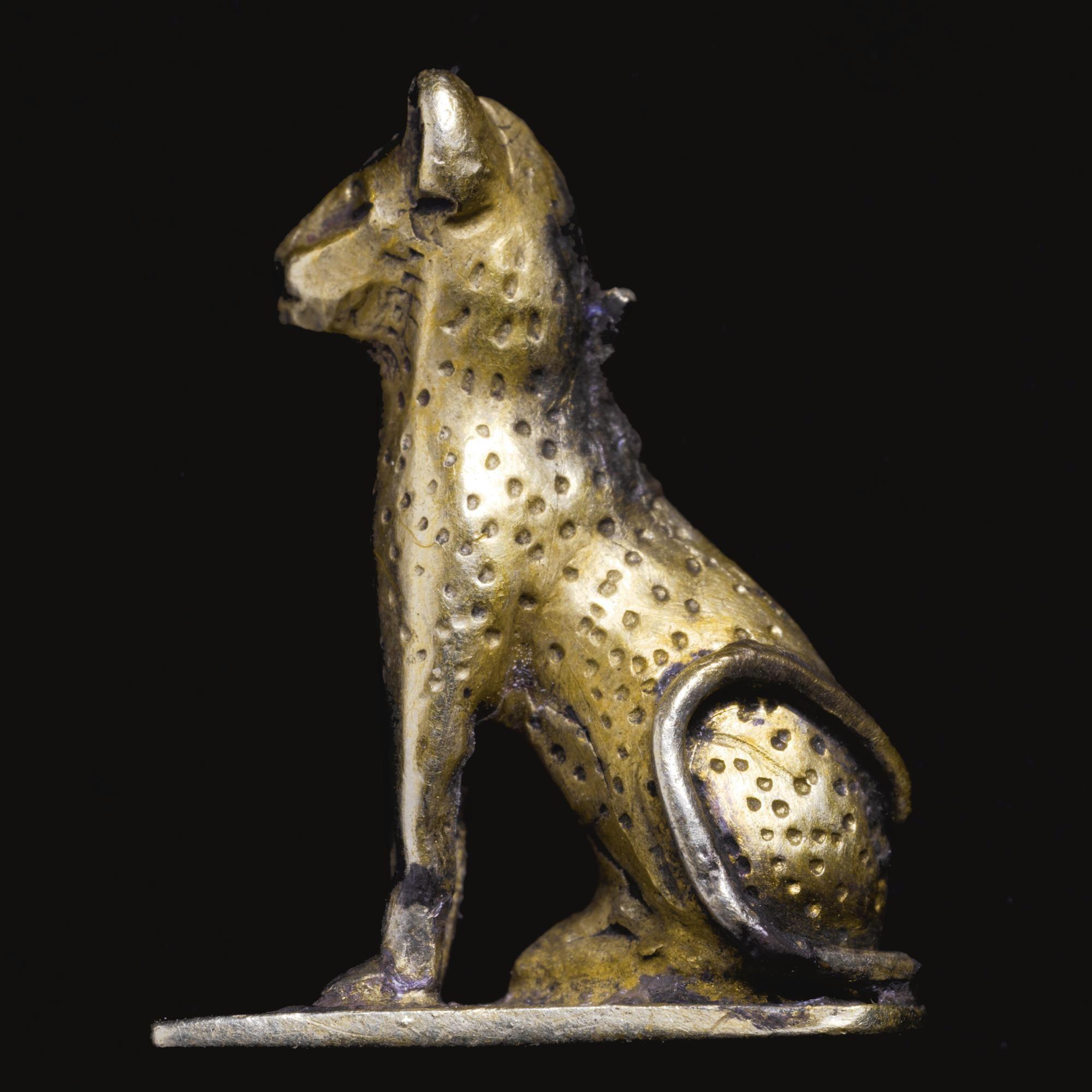 An Egyptian Electrum Cat Amulet, 3rd Intermediate Period