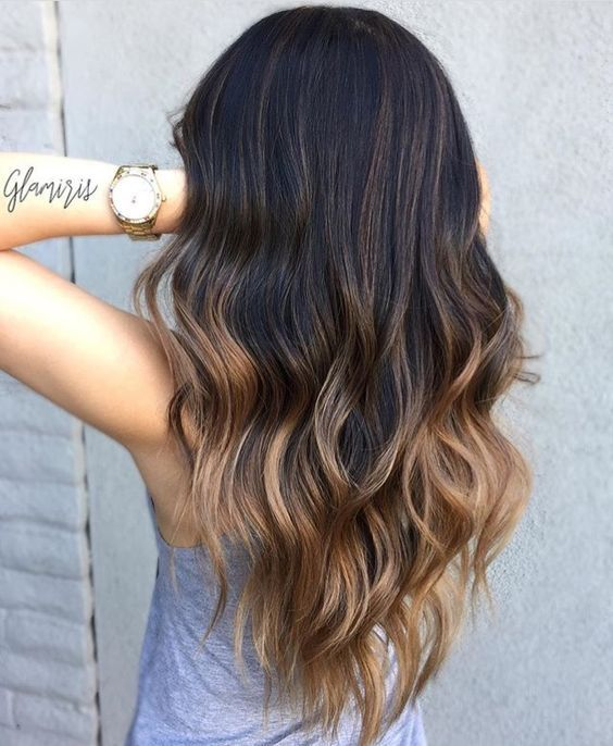 Clip In Extensions Balayage Ombre Color Off Black 1b To Medium Brown