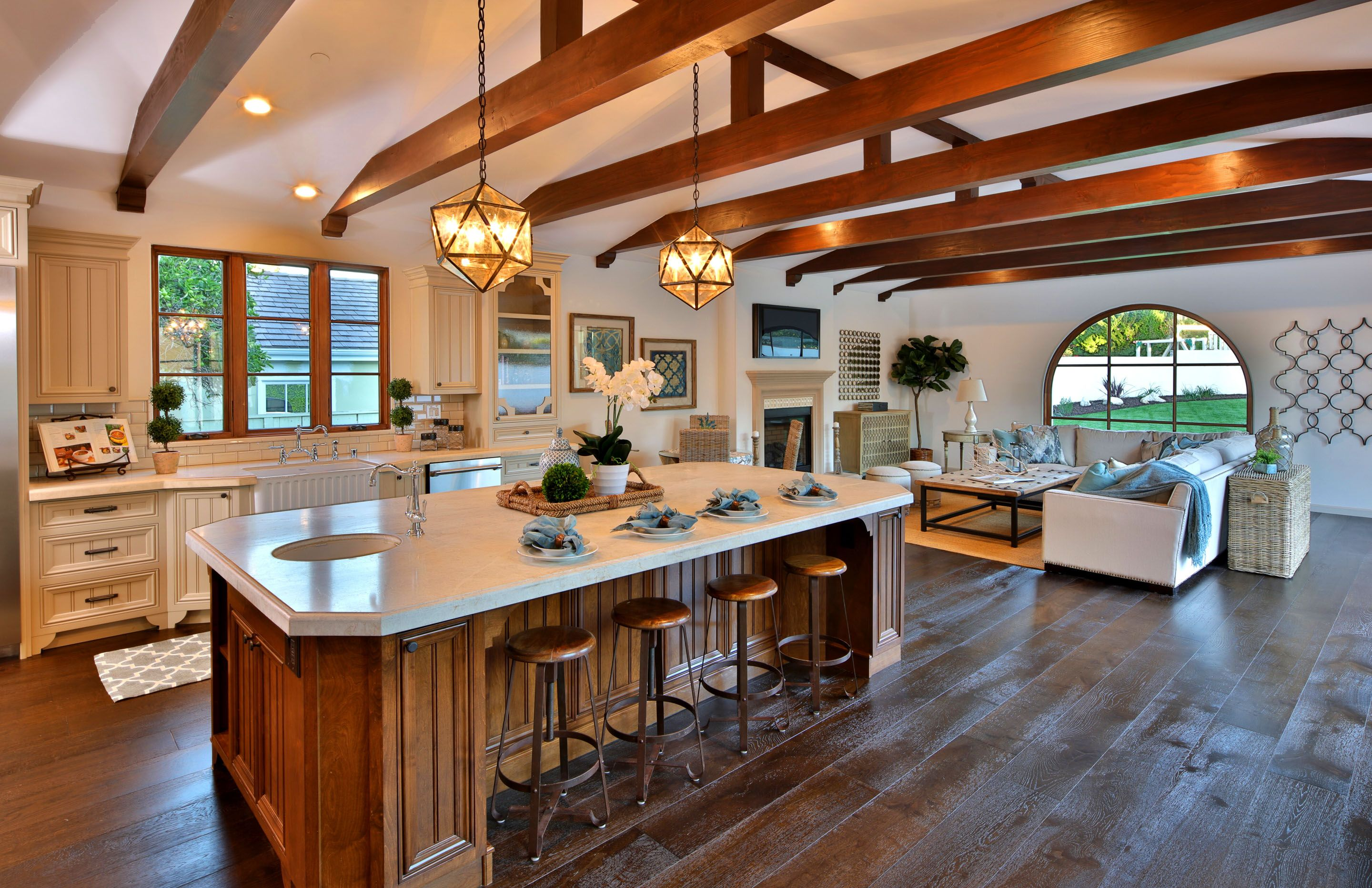 Open Concept Luxury Modern Home With Wood Beam Ceiling Luxury Modern Homes Home Decor Kitchen Wood Beam Ceiling