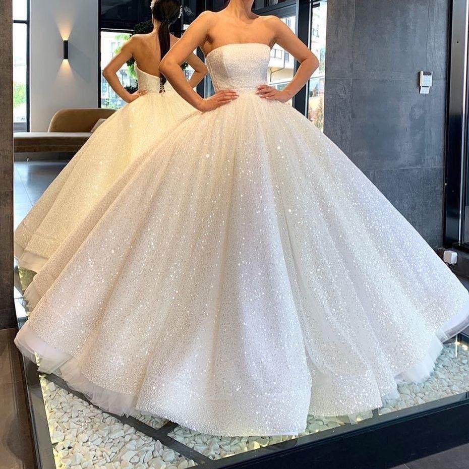 Lia Stublla White Dress Ball Gown Wedding Dress Glitter Wedding Dress Ball Dresses [ 930 x 930 Pixel ]