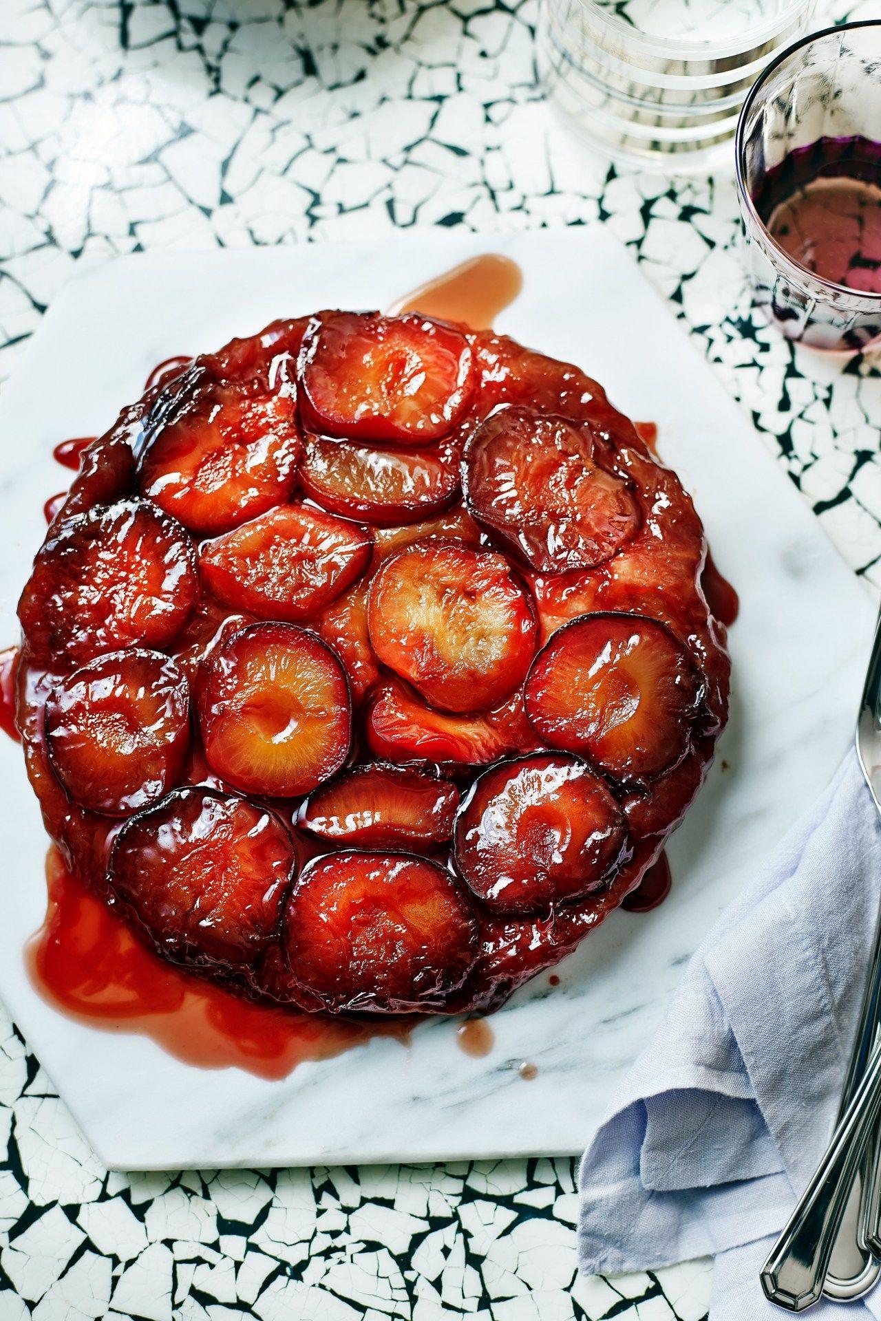 Plum Tarte Tatin With Spiced Red Wine Glaze Recipe Plum Recipes Plum Tarte Tatin Plum Dessert