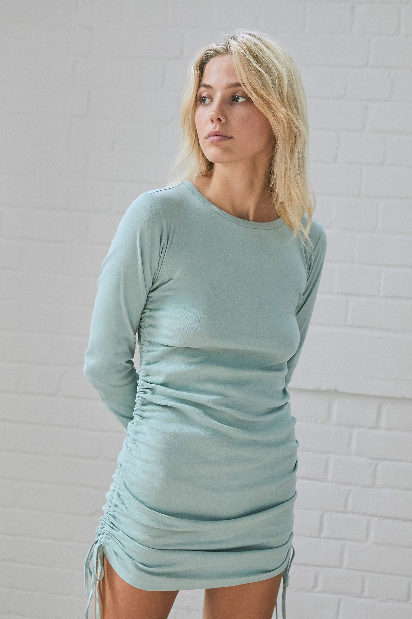 Uo Ruched Long Sleeve Mini Dress Urban Outfitters Uk Long Sleeve Fitted Dress Long Sleeve Mini Long Sleeve Mini Dress [ 2049 x 1366 Pixel ]